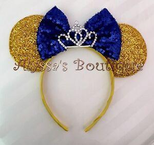 NEW Princess Minnie Mouse Tiara Ears Headband Shiny Gold Sparkly Blue Sequin Bow