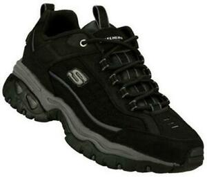 SKECHERS Men's Leather Sneakers in Brown and Black, Medium and Extra Wide 3E