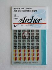 Archer 1/35 British 25th Division AoS and Formation Signs WWII [Decal] AR35315