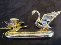 "24kt Gold Plated Austrian Crystal Swan Candle Holder by Mascot U.S.A. 6.5"" long"