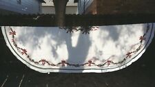 """White Green Holly Red Ribbon Christmas Oval 96""""X64"""" Tablecloth Free Shipping"""