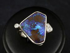 Attraktiver Boulder Opal Brillant Ring ca. 8,16ct  750/- Weißgold Oeding-Erdel