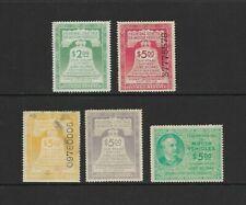 "U.S. Five Motor Vehicle Revenue Stamps, ""Rv"" Series, 1942-46 Issues"