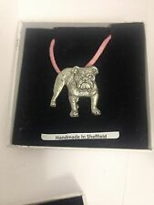 Bulldog pp-d19 Perro De Peltre Colgante Rosa Cable Collar