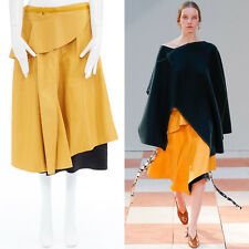 runway CELINE PHOEBE PHILO AW15 mustard yellow leather wrap silk lined skirt L