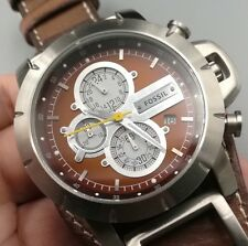 NEW OLD STOCK FOSSIL JAKE JR1157 CHRONOGRAPH DATE LEATHER STRAP QUARTZ MEN WATCH
