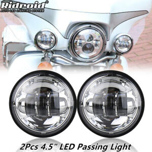 """Pair 4.5"""" Inch 30W Chrome CREE LED Fog Light Passing Lamps for Harley Motorcycle"""