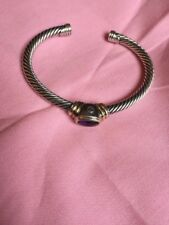 David Yurman Cable Classic Bracelet with Amethyst and 14K Gold Accent