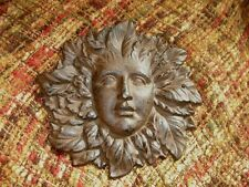 LARGE Solid Cast Iron Sun Woman Face Wall Sculpture Decor  Nature Brown Garden