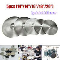 NEW Low Volume Quiet Silent Cymbal Pack 5pcs w/ Cymbal Bag (No Branding)