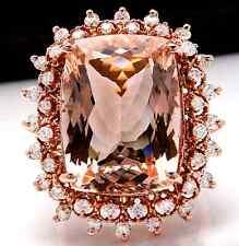 Estate 19.20 Carats Natural Morganite and Diamond 14K Solid Rose Gold Ring