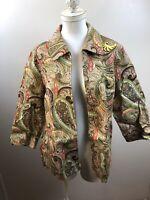 Vintage Koret Womens Size L Brown Paisley Tapestry Jacket Blazer Top Shirt