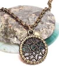 "WEAVED CIRCLE_Small Bronze Pendant + 18"" Chain Necklace_Dreamcatcher Native_150N"