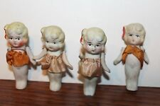 FOUR NICE BISQUE PAINTED FACE YOUNG GIRLS with JOINTED ARMS