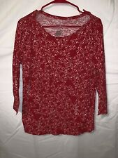St Johns Bay Womens Large Red Blouse Long Sleeve