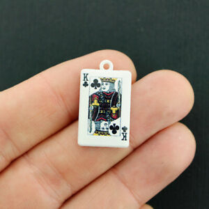 2 Playing Card Charms White Enamel King Of Clubs - E722