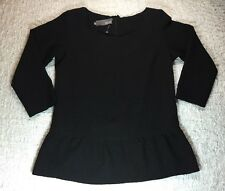 MYNE Ashley Ann SZ 2 Top Black Blouse Textured Stretch Scoop Neck Made In USA