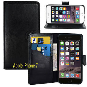NEW BLACK WALLET LEATHER GEL CASE WITH CARD SLOT FOR Apple iPhone 7 UK seller