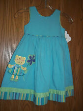 Picture Me Girls Size 4 Aqua Art Deco Bear Dress New With Tags