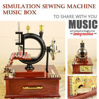 Vintage Music Box Mini Sewing Machine Style Mechanical Birthday Table Decor Toy