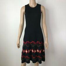 Ralph Lauren Petites Black Wool Sweater Knit Dress Southwest – NEW