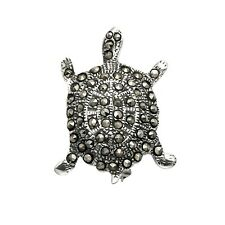 Sterling Silver Marcasite Turtle Tortoise Pin - MPN20