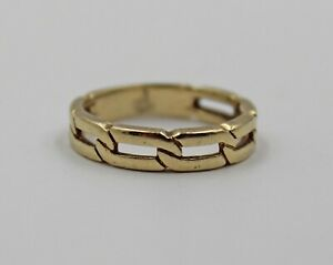 Vintage 14K Yellow Gold Cable Chain Link Band Ring Sz 7.75