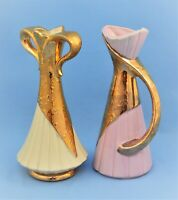 VINTAGE PAIR OF  24 KT GOLD USA CERAMIC POTTERY VASES CREAM AND PINK