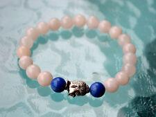 8mm Crystal Quartz Himalyan Ice with Lapis Lazuli Buddha Prayer Beads bracelet