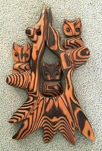 "Carved Witco Owl Cryptomeria Wood Wall Art Tall 3 Owls Mid Century 16"" Tall Vtg"