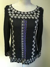 See U Soon Womens Embroidered Black Top Size 8-10 (29)