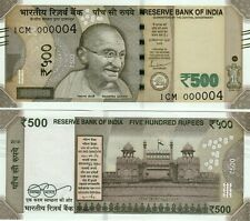 India 500 Rs Low Serial 2019 Flag Red Fort R Inset Paper Money Bank Note Unc
