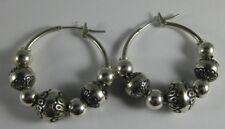 Carolyn Pollack Stamped Bead Sterling Silver Hoop Pierced Earrings 00004000