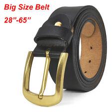 Classic Vintage Brass Buckle Mens Belts 100% Genuine Leather Belt for Jeans