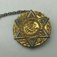 Jewish Ladies Aux US War Veterans Gold Filled Star Of David Pin Chain Gavel  P7