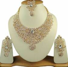 Indian Wedding Jewelry Cubic Zirconia Gold Tone White Princess Necklace Set Q71
