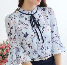 Elegant Ladies Bow Tie Floral Blouse Chiffon Summer Printed Tops T-Shirt A+++