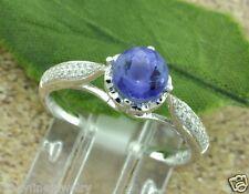 1.21 ct 18k White Gold  ladies Tanzanite & Diamond Ring With heart filigree side