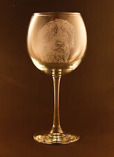 New! Etched Wirehaired Pointing Griffon on Large Elegant Wine Glasses - Set of 2