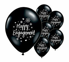 "20 x HAPPY ENGAGEMENT  BLACK 12"" HELIUM QUALITY PEARLISED BALLOONS (PA)"