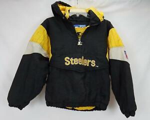 Vintage Starter Coat Pittsburg Steelers Jacket Black Pullover Youth Medium