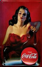 Coca Cola Lady In Red Tome Vintage Retro Embossed 3D Steel Wall Sign Licensed