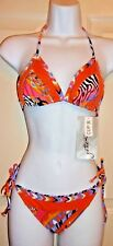 NEW  Gottex Silver Pop Art OpArt triangle top bikini Orange multi 10 & B
