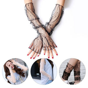 Womens Lace Long Gloves Arm Sleeves Covers Summer Sun Protection Driving Gloves