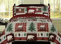 Mountain Bear Elk Lodge Plaid King Queen Twin Comforter or Embroidered Sheet set
