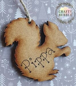 HANDMADE PERSONALISED SQUIRREL CHRISTMAS TREE BAUBLE ORNAMENT.WOODEN