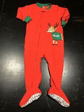 Boys 18 Month Carters Red Fleece Zip Up Footed Pj Reindeer Sweater Christmas