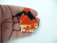 Vintage HOUSE PINS by LUCINDA  Red Modernist Pin Brooch Heart Houses