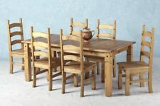 Dining Table and 6 Chairs Solid Wood Furniture Antique Rustic Kitchen Seater Set