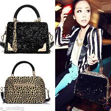Women Lady Sequin Leopard Messenger Leather Cross Zip Tote Shoulder Bag Handbags